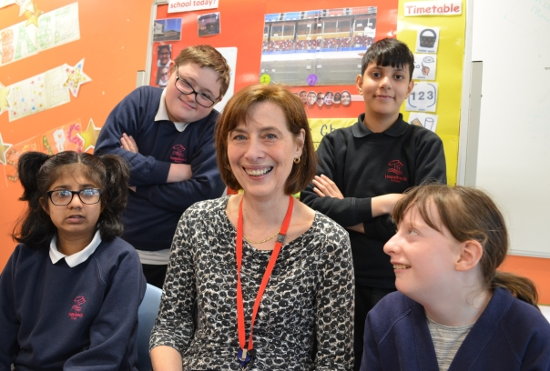 Hazelbeck headteacher Sue Pierce with pupils