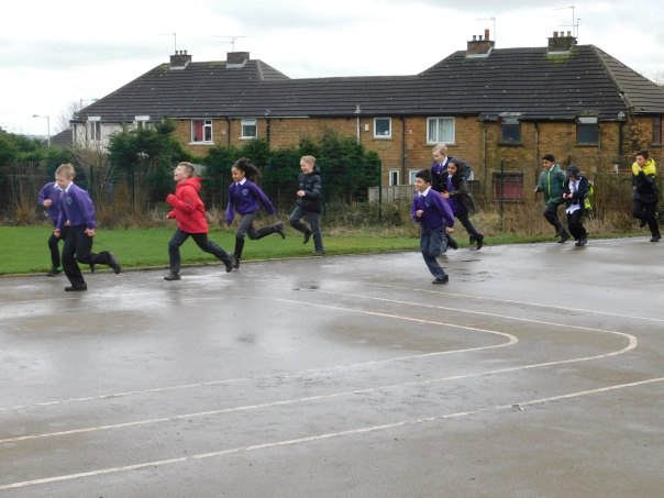 Clayton Village Primary School doing The Daily Mile 2
