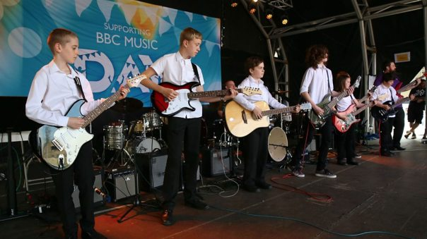 Students from Bradford Music Centre Rock School perform at BBC Music Day 2016